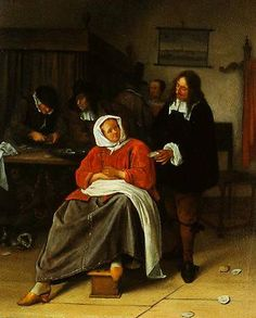 An Interior With A Man Offering An Oyster To A Woman 1660-1665 National Gallery in London Jan Steen