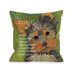 Yorkshire Terrier Throw Pillow (26 x 26 Pillow), Multi, Size Specialty (Polyester, Animal)