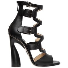 Paul Andrew Women 115mm Lagertha Elaphe & Leather Sandals ($1,580) ❤ liked on Polyvore featuring shoes, sandals, black, leather high heel sandals, leather sole shoes, black leather shoes, black sandals and leather shoes