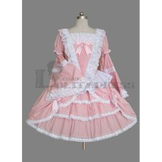 Buy Long Sleeves Square Collar Multi-Layer Cotton Plus Size Pink Sweet Lolita Dress