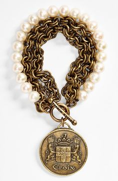 Pearl & Chain are brilliant! French Kande 'Croix' Medallion Bracelet | Nordstrom