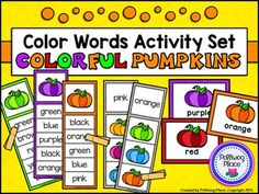 Color Words Activity Set - Colorful Pumpkins {FREEBIE} This Color Words Activity Set contains 3 different printable activities that focus on matching, reading, and writing color words. There are two sets of color Color Word Activities, Ten Frame Activities, Vocabulary Activities, Educational Activities, Teaching First Grade, Teaching Kindergarten, Teaching Resources, Teaching Ideas, Preschool Colors