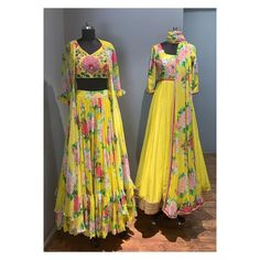 Dresses - Alice in Bohemia Stunning yellow color lehenga and blouse with long over coat Lehenga with floral print Yellow color floor length dress with floral design hand embroidery work on yoke Floor length Kurti Designs Party Wear, Lehenga Designs, Saree Blouse Designs, Choli Dress, Anarkali Dress, Indian Designer Outfits, Designer Dresses, Baby Girl Dress Patterns, Indian Bridal Lehenga
