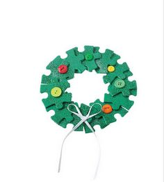 Wreath ornament from puzzle pieces