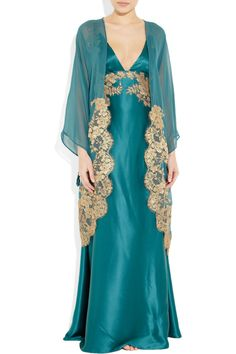Rosamosario|Mezza Luna lace-appliquéd silk-chiffon robe|NET-A-PORTER.COM