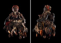 fon vodun sculpture, benin (30 x 18 x 17 cm) wood, rope, bones, duck skull, metal, terracotta, shells, beads, feathers, cloth, hair, plants ...