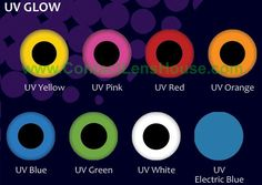 Phantasee UV Glow - range lenses make your eyes sparkle and glow in the dark under disco light. Glow lenses are the only lens in the market which uses effective glow inks that react under UV light, making for a glowing night out in any night club. The plain bright glow colours also look great without UV activation or in daylight.