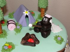 Bridal Shower Camping Cake-Since camping is my personal idea of hell, I'd prefer a campy bridal shower cake.