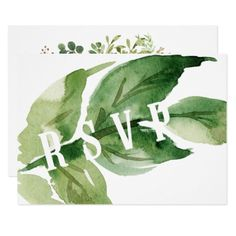 Modern Typography Botanical Dream Greenery RSVP | Card - calligraphy gifts custom personalize diy create your own