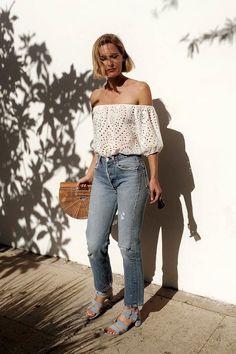 Haley-Boyd-Instagram-Inspiration-Summer-Style-White-Off-The-Shoulder-Eyelet-Top-High-Waisted-Vintage-Jeans-Cult-Gaia-Basket-Bag-Blue-Suede-Sandals-Via-Haleboyd