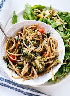Spinach Pasta with Roasted Broccoli