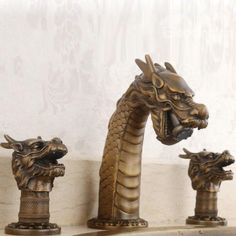Cool Creative Dragon Head Design Pure Copper Bathroom Faucet
