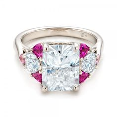 Custom Radiant Cut Moissanite and Pink Sapphire Engagement Ring by Joseph Jewelry