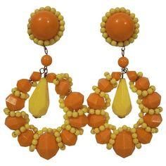 Preowned 1960s Large Beaded Hoop Earrings In Lemon Yellow And Orange... ($285) ❤ liked on Polyvore featuring jewelry, earrings, yellow, orange jewelry, clip hoop earrings, yellow jewelry, long beaded earrings and beaded hoop earrings