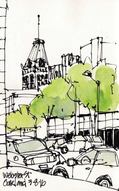Urban Sketchers S. Travel Sketchbook, Sketchbook Drawings, Ink Drawings, Art Sketches, Sketch Painting, Watercolor Sketch, Watercolor Illustration, Watercolor Flowers, Watercolor Artists