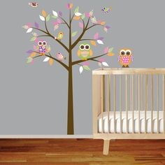 Girl Baby Nursery Vinyl Decal Tree with Pattern Leaves Owls and Birds. $99.00, via Etsy.