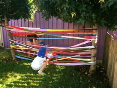 "Old material that has been cut into strips and sewn back together makes for a fabulous soft, springy spiderweb to climb through - from Elder Street Early Childhood Centre ("",) This would be nice between the two trees on the left hand side at the top? Outdoor Learning Spaces, Outdoor Play Areas, Outdoor Education, Outdoor Fun, Preschool Playground, Early Childhood Centre, Outdoor Classroom, Outdoor Playground, Backyard For Kids"
