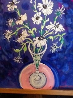 "Blue 30""x44"" $9,000 at mobiart.mobiworld.me Paul Brown, Vases, Paintings, Flowers, Blue, Art, Art Background, Paint, Painting Art"