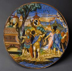 Plate (piatto): The story of Aeneas Francesco Xanto Avelli da Rovigo (Italian (Urbino), active first half of century) Date: 1532 Culture: Italian, Urbino and Gubbio Medium: Maiolica (tin-glazed earthenware) Renaissance Kunst, Italian Renaissance, Italian Pottery, Plant Painting, Glazes For Pottery, Glazed Pottery, Objet D'art, Toscana, Metropolitan Museum