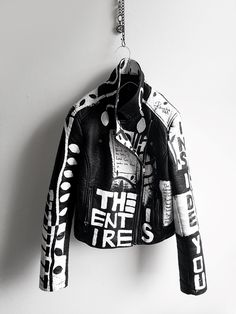 black and white hand painted jacket. Words by The Black Keys (lyrics) philosophy. Hand painted abstract leaves and words. predominately covered with a big eyed face and a tiny hand. We do custom sizing as well as man's fit. Painted Leather Jacket, Black Faux Leather, Diy Leather Jacket, Men's Leather, Leather Jackets, Diy Fashion, Fashion Outfits, Mens Fashion, Fashion Design