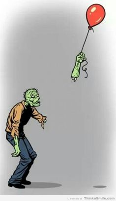 This is unbelievably sad. This is a zombie, so he has nothing left to exist for... Except this balloon. This balloon is the only thing this zombie has, and it just left him. Look at his face. I feel so bad...