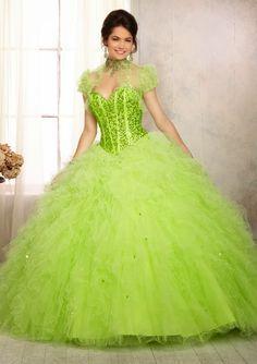 Vestido de 15 largo verde