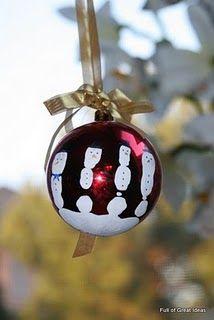 Handprint snowman ornament.