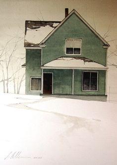 "Joseph Alleman    Silver Blanket 2008, Watercolor  14"" x 10"""
