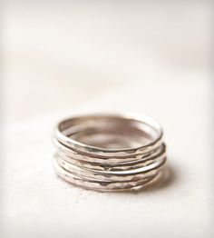 Faceted Sterling Silver Stacking Rings