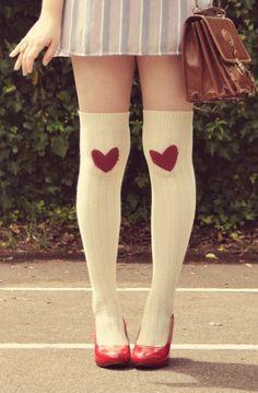 heart knee socks
