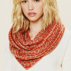 Free People Gaia Loop Scarf Free People Wooden Ships Gaia Loop Scarf. Orange and tan pattern. Great condition, super comfortable. Free People Accessories Scarves & Wraps