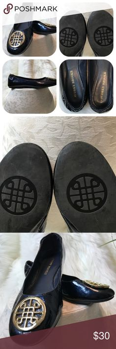 Audrey Brooke flats with gold emblem Deep navy/black it's hard to tell. They have a great shine and in excellent condition no wear NSNP Audrey Brooke Shoes Flats & Loafers