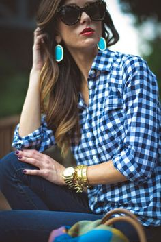 gingham button up, kendra scott earrings, turquoise, plaid scarf, shopping tips