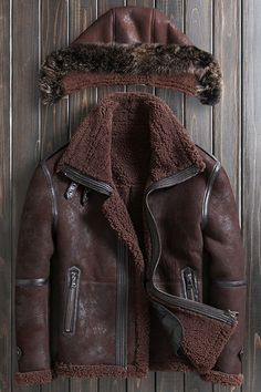 Online shopping from a great selection at Clothing, Shoes & Jewelry Store. Leather Jacket With Hood, Faux Leather Jackets, Mens Winter Coat, Winter Coats, Shearling Jacket, Fur Coat, Mens Fur, Rugged Style, Men's Jackets
