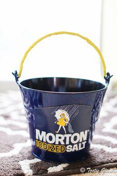Morton Salt Girl pail for my little one's Morton Salt Girl Halloween Costume.