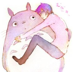 Aww. :) Who is that with Totoro? We have so many dark-haired guys. It could be anyone.