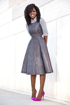Striped Shirt + Fit & Flare Midi Dress