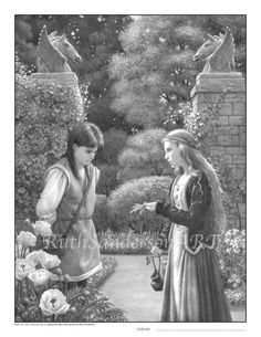 Lina and Michael Grayscale Coloring PDF by RuthSandersonArt