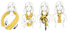 Nœud enroulé avec deux écharpes ou foulards : déposez deux écharpes de couleures différentes derrière votre cou, prendre les deux extrémités en main, les nouer sur elles-même. Faire regonfler le noeud pour faire apparaître les deux couleurs.