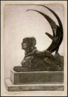 Félicien Rops, Le Sphinx - Frontispiece for 'Les Diaboliques' by Barbey d'Aurevilly  Musée du Louvre, Paris; 2nd half 19th century