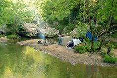 """Camping on a little island in the middle of a creek"" Awesome camping location"