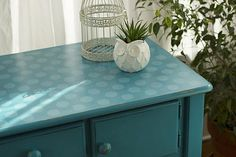 Polka Dot Stenciled Cabinet -- Stencil on visual interest to a simple cabinet.  #decoartprojects