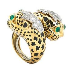 David Webb New York - Cabochon emeralds, brilliant-cut diamonds, black enamel, gold, and platinum Animal Rings, Animal Jewelry, Crossover Ring, David Webb, High Jewelry, Jewellery, Hammered Gold, Black Enamel, Beautiful Rings