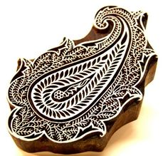 Textile Paisley Design Indian Wooden Block Printing Stamp Intricate  | catfluff - Craft Supplies on ArtFire