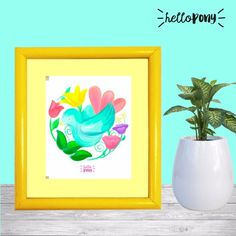 """Beautiful """"bird and nature"""" print - original design, made by Hello Pony World. Follow on instagram and my Etsy shop"""