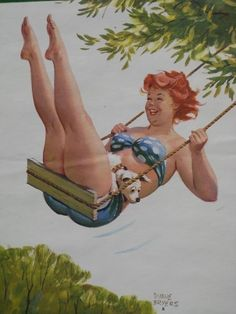 Vintage pin up happy girl swinging with puppy illustration