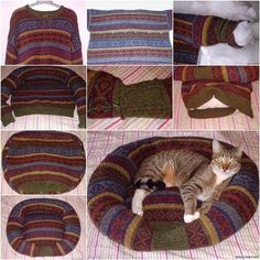 How to DIY Pet Bed from Old Sweater #diy #upcycling #pet #cat