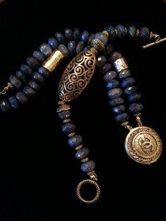Chanel Button Bracelet Duo  Blue Labradorite ArmCandy DesignsbyZ contact  zumphlette@aol.com
