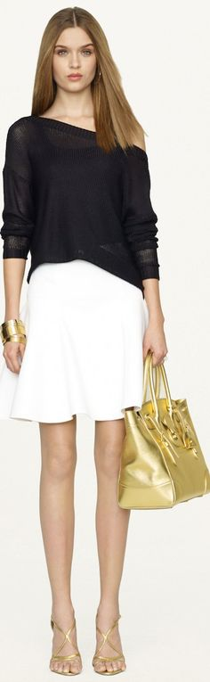 Black Label Neoprene Laird Skirt, Open-Knit Cable Sweater, and Gold Soft Ricky Bag