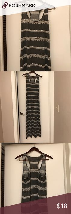 Aztec maxi dress! Hardly worn! Great Condition. Gray with a white boho aztec print. Racer back. Slit on the left side. Cute with a cardigan or jacket thrown over it. (Cardigan not included). Dresses Maxi